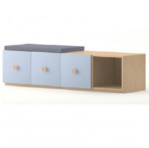 Meuble rangement 4 casiers 3 portes avec coussin (3000100)